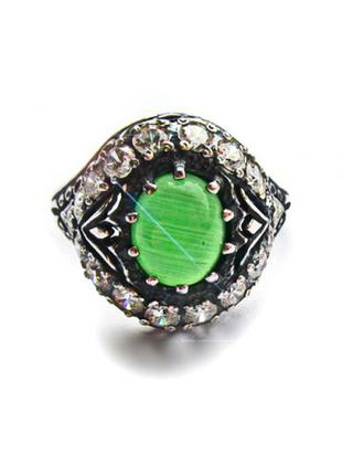 Кольцо серебро (925) Хризопраз авантюрин