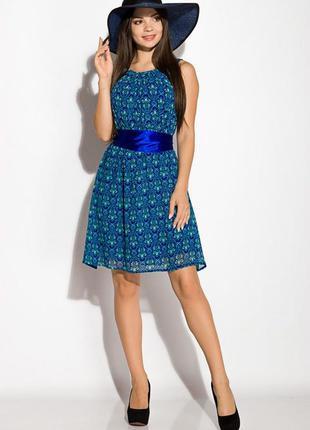 Платье женское с атласным поясом 964k037