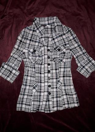 Сорочка чорно-біла в полоски, ромбіки, квадрати, рубашка кофта...