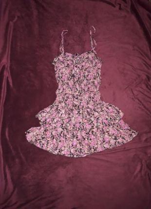 Плаття розове рожеве квіткове в квіти, платья цветное, шикарна...