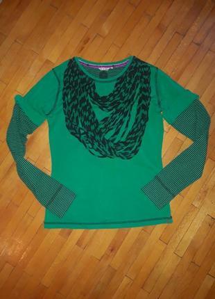 Футболка кофта зелена лонгслив з шарфом лонгслів