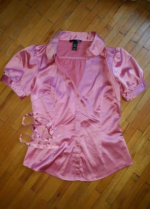 Блузка h&m блуза сорочка футболка розова рожева