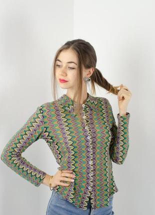 Облегающая рубашка с абстрактным принтом (принт по типу misson...