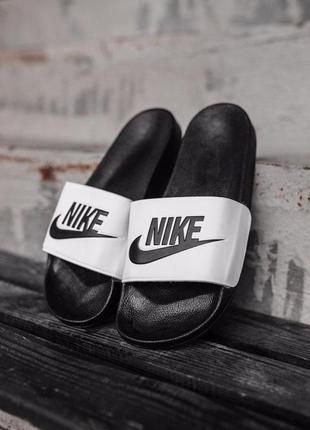 Шикарные мужские летние тапки nike white black ◈ шлёпки ◈ тапо...