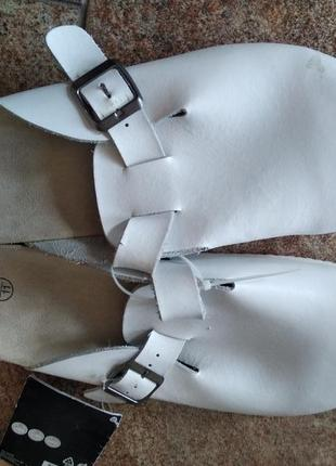 Шлепанцы белые мужские кожаные