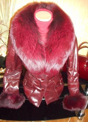 Курточка кожа лак зима-демисезон