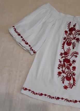 Белая блуза с вышивкой объёмный рукав хлопок размер 6-8 doroth...