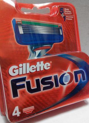Скидка-35% 4шт/1уп Gillette FUSION Лезвия для бритья