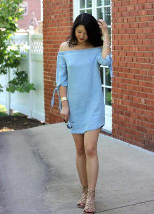 Стильное платье-шамбре миди актуального цвета индиго  george (...