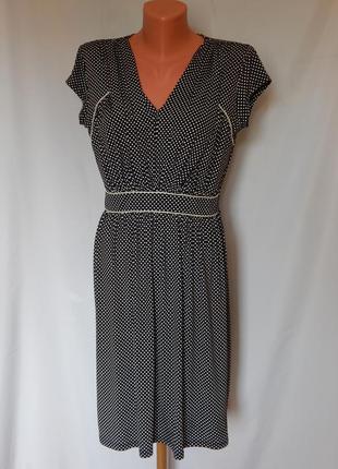 Черное платье в мелкий горошек morgan (размер 38)