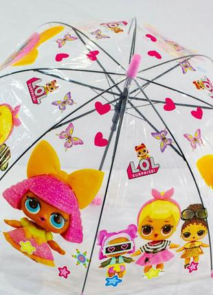 Детский прозрачный зонтик для девочек lol на 4-6 лет