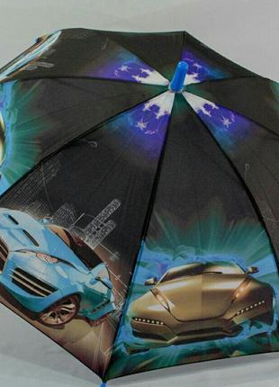 Зонт-трость для мальчика на 5-9 лет супермашины