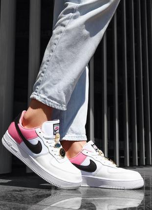Женские кроссовки nike air force white/pink 💎