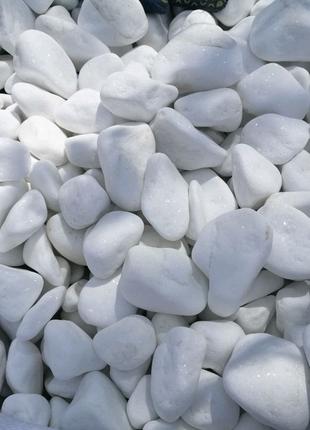 Белая галька тасос и Мраморизованный известняк