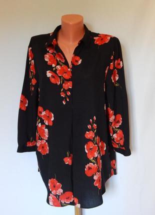 Черная блуза в красные цветы soon (размер 12)