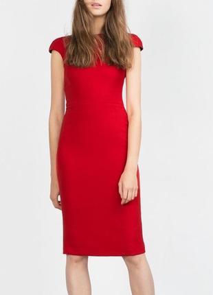 Эффектное красное платье zara basic с молнией на спине (размер...