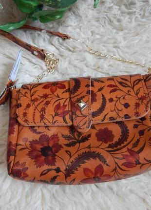 Итальянская кожаная сумочка рыжая через плечо в цветочный принт*