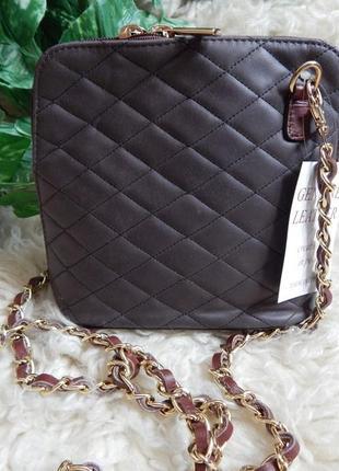 Итальянская кожаная сумочка через плечо *темно-коричневая