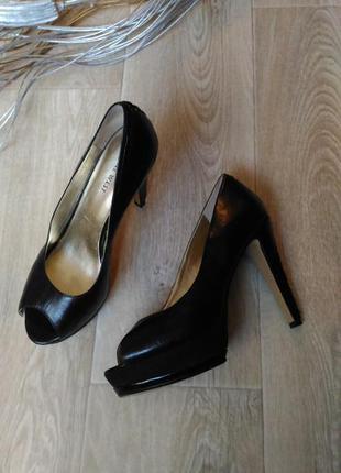 Чёрные туфли nine west, натуральная кожа, размер 37