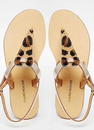 Новые кожаные босоножки сандали леопардовый принт 37 размер