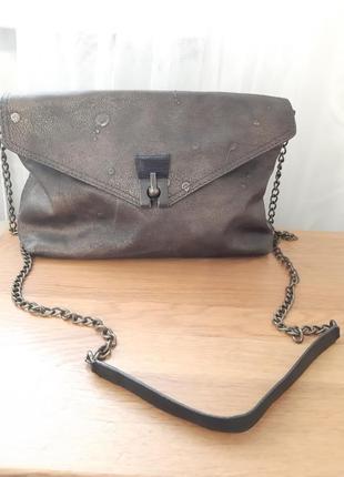 Шикарная кожаная сумка crossbody бронзовая label lab
