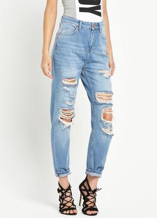 Шикарные рваные джинсы на высокой посадке мом mom на стройную ...