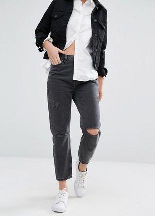 New look high rise mom рваные джинсы мом высокая посадка