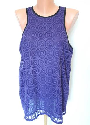 Фиолетовая ажурная майка next ( размер 16)