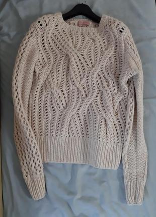 Шерстяной свитер объемной крупной ажурной вязки lambswool