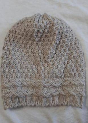 Шерстяная шапка бини альпака крупная вязка beanie schurwool al...