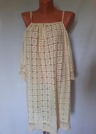 Коттоновое платье- туника оверсайс в стиле бохо