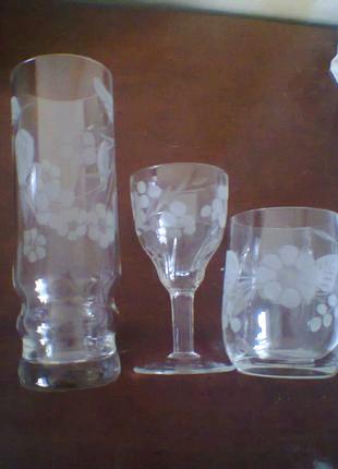 Комплект из хрустального стекла гравировкой.