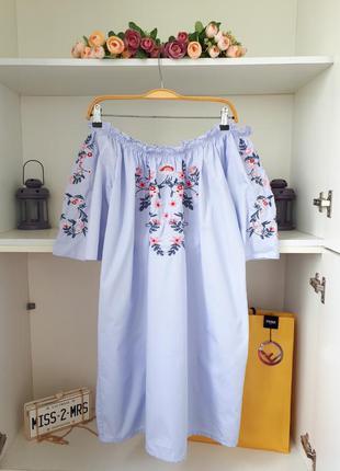 Хлопковое летнее платье с вышивкой amisu