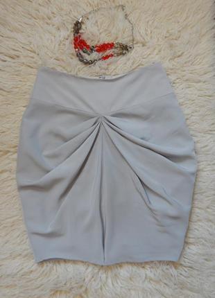 Оригинальная юбка бледно-серого цвета на подкладке(размер 8)