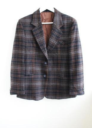 Винтажный шикарный шерстяной пиджак в клетку, винтаж, geny's, ...
