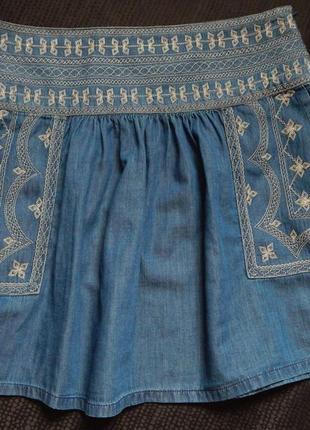 Коттоновая юбка  с элементами вышивки от fbsister(размер 40)