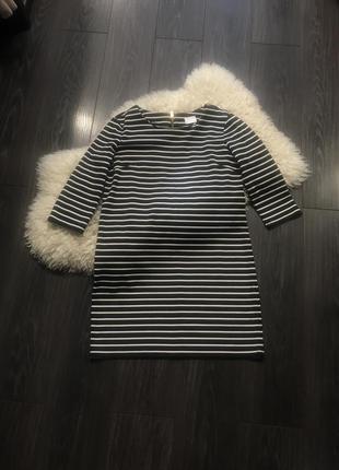Черно-белое полосатое платье vila