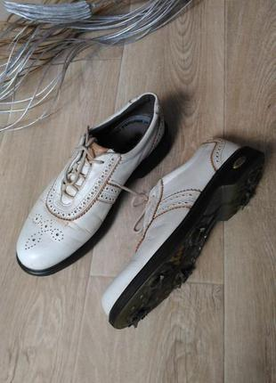 Туфли ecco для гольфа с шипами, натуральная кожа р.39
