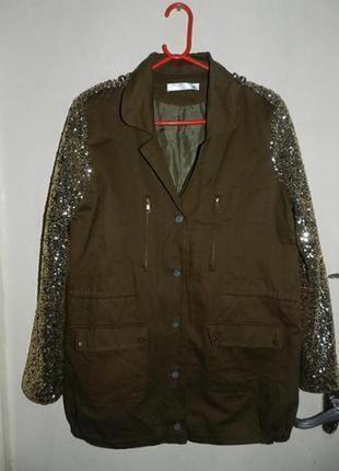 Бомбезная-куртка-ветровка-жакет-хаки,милитари,с расшитыми золо...