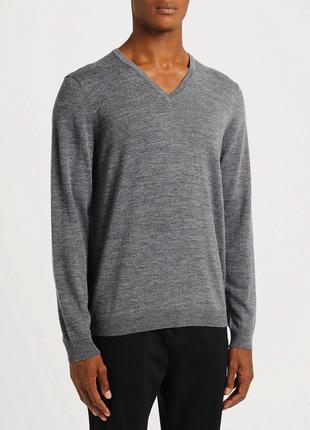 Пуловер батал серый меланж шерсть мериноса *wolsey 1755 4XL