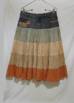 Новая юбка-солнце яркая жатка-варенка с вышивкой *per una*48-50р