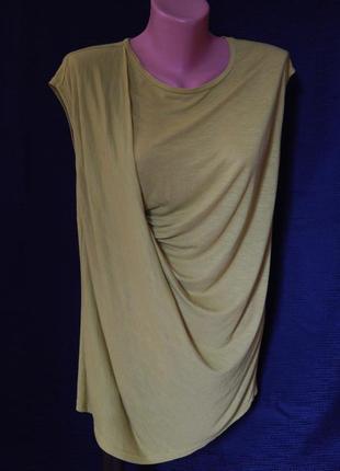 Горчично-зеленого  цвета футболка*блузка от  topshop(размер 10)
