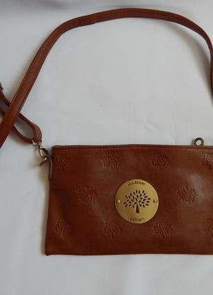 Светло-коричневая сумка-клатч  кожа номер mulberry