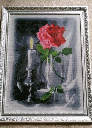 """Картина бісером """"Троянда в бокалі"""""""