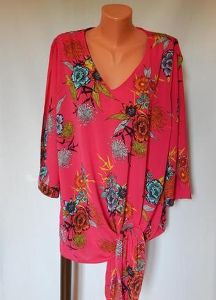 Розовая блузка в цветочный принт от george (размер 20)