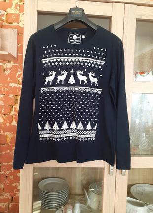 Симпатичный котоновый с принтом пуловер большого размера