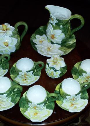 Чайная чашка, чайный сервиз Орхидея с объемными цветами