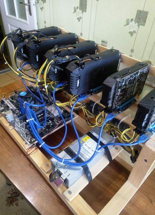 Ферма для майнинга на 4 видеокарт Gigabyte GTX 1050 Ti 4gb