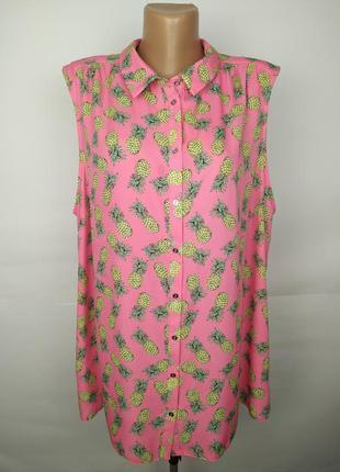 Блуза майка легкая красивая в ананасы легкая большой размер uk...