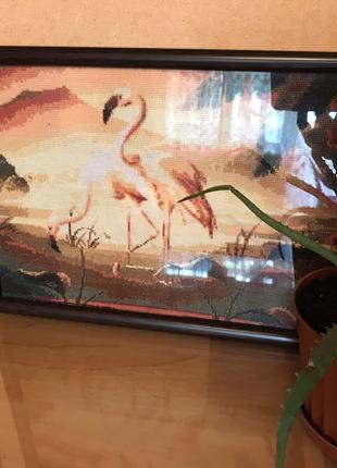 """Картина вышитая крестиком """"Фламинго"""""""